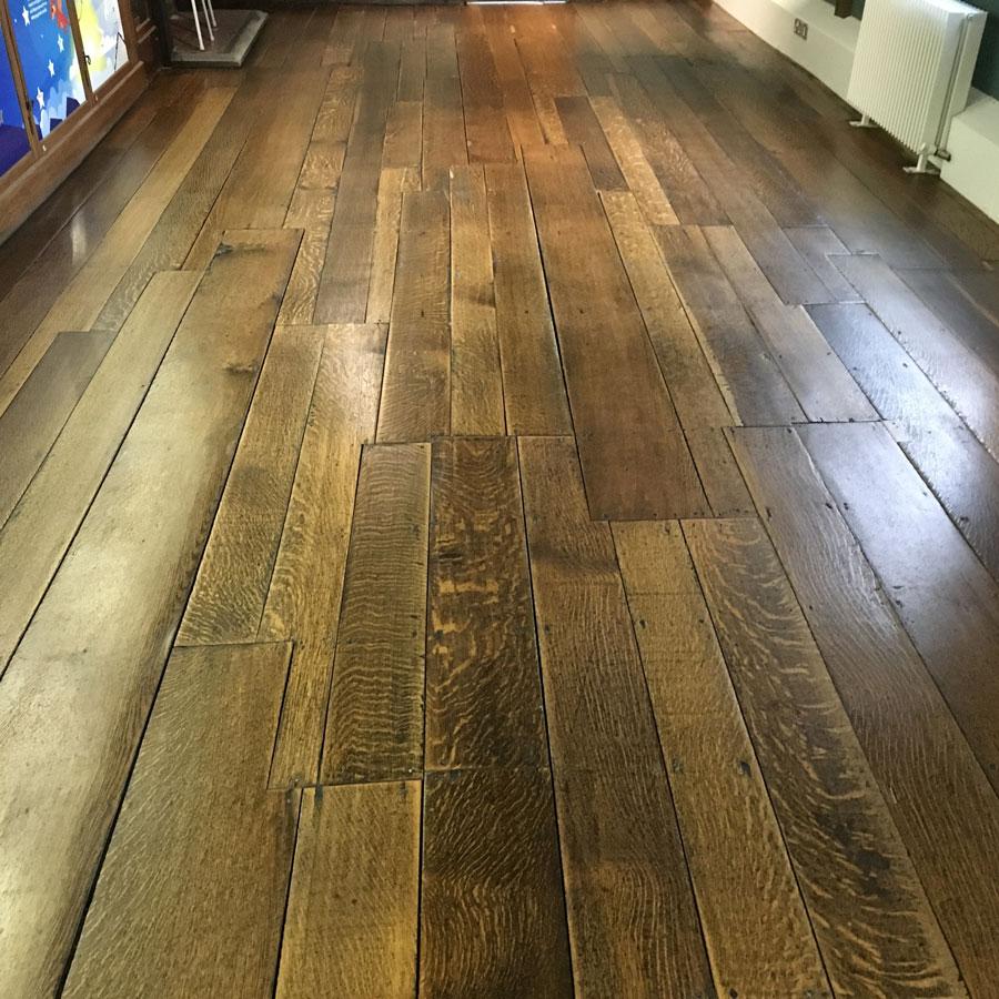 English Solid Oak Floor Restoration After