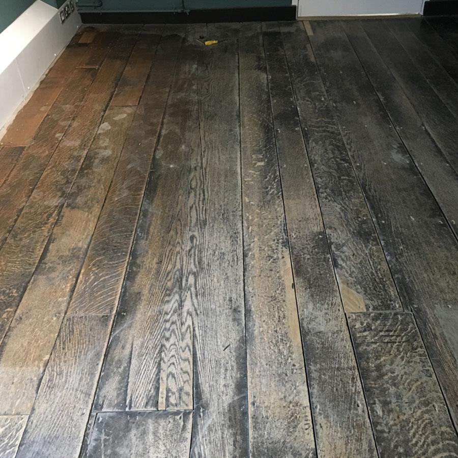 English Solid Oak Floor Restoration Before