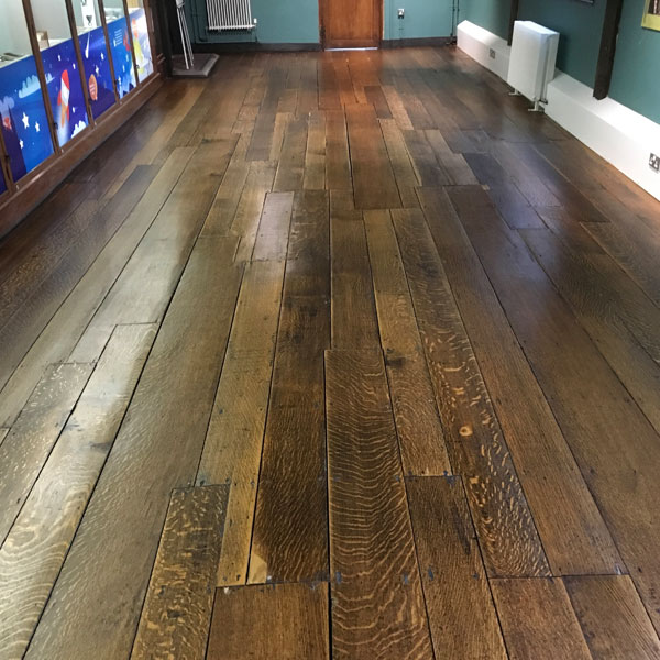 English Solid Oak Floor Restoration Library Completed