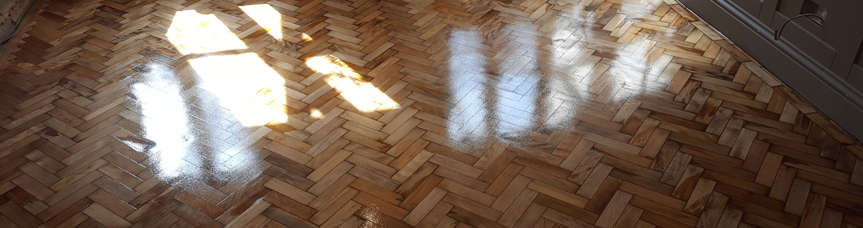 Parquet Floor Cleaned Sanded Coated Still Wet